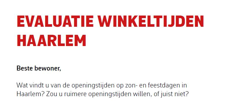 Evaluatie Winkeltijden Haarlem