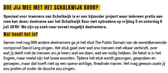 Update: Doe mee met het Schalkwijk koor!