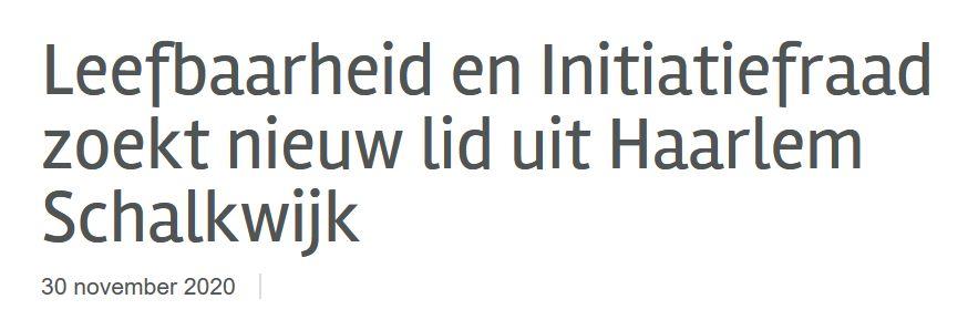 Leefbaarheid en Initiatiefraad zoekt nieuw lid uit Haarlem Schalkwijk